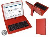 Keyboard Case voor de Cherry Mobility 10.1 Quadcore M1023q, QWERTY Toetsenbordhoes, Rood, merk i12Cover