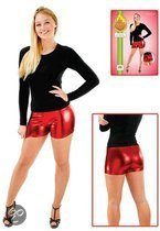 Strakke hotpants metallic rood S/m