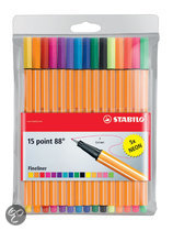STABILO Point 88 Fineliner 10 + 5 Neon Etui