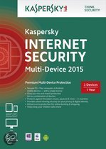 Kaspersky Internet Security 2015 Multi Device - Nederlands / Frans / 1 Gebruiker/ 3 Apparaten / DVD