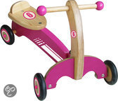 Loopfiets Naturel Hout Roze/Wit