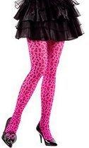 Neon roze panty met luipaard print