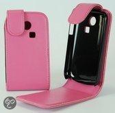 Faux Flip case hoesje Samsung S3350 Ch@t 335 roze