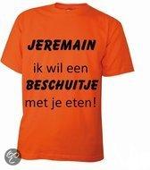 Benza T-Shirt - EK/WK Voetbal Oranje - Beschuitje eten met Jeremain Lens - Ronde hals - Maat L