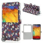 Mesh - Samsung Galaxy Note 3 - S-View Book Case Hoesje Bloemen Paars