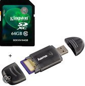 Benza - Kingston Security Digital (SD) Card/Kaart SDHC 64GB Class 10 (Inc. USB SD/SDHC Kaartlezer) Geheugenkaarten