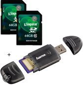 Benza - Kingston Security Digital (SD) Card/Kaart SDHC 2x 64GB Class 10 Twin Pack (Inc. USB SD/SDHC Kaartlezer) Geheugenkaarten