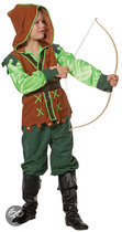 Carnavalskleding Groene Peter Pan kind suedine satijn Maat 152