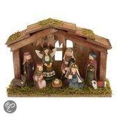 Kerststal hout met 9 figuren
