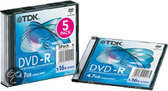 TDK DVD-R 120min/4,7GB 16x 5 stuks in jewelcase