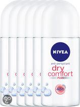 NIVEA Dry Comfort - 50 ml - Deodorant - 6 st - Voordeelverpakking