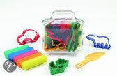 Pastel klei transp. koffer klein 5 rol+accessoires