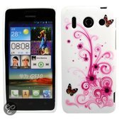 Huawei Acsend g510 silicone gel hoesje roze vlinder
