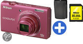 Nikon Coolpix S6200 - Roze + Tas + 4Gb SDHC Kaart