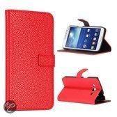 Samsung Galaxy Grand 2 - lichee lederen bookcase hoesje - rood