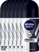 NIVEA MEN Invisible Black & White Power  - 50 ml - Deodorant - 6 st - Voordeelverpakking