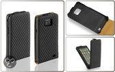 Lelycase Premium Flip Style Case Lederen Hoesje Samsung Galaxy S2 Plus i9105 Diamant Design Zwart