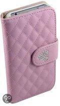 Lederen wallet bookcase boek hoesje iPhone 4/4S Strass Roze