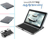 Samsung Galaxy Note 10.1: Bluetooth Keyboard van i12Cover, Aluminium Bluetooth toetsenbord geschikt voor Samsung Galaxy Note 10.1 N8000/N8010 ook te gebruiken als beschermende case