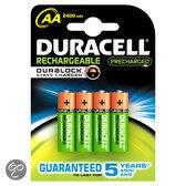 Duracell Oplaadbare Batterijen AA 2400 Mah 4x Pak - Precharged
