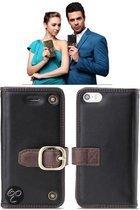 ROCK Leather case Apple iPhone 5 en 5S (WANDER Serie black)