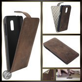 Echt Leer cover - Samsung Galaxy S5 mini hoesje - Lederen Flip Case Bruin - FlipCase (Antic Coffee)