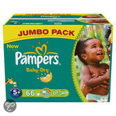 Pampers Baby Dry - Luiers Maat 5+ - Jumbo box plus 66st