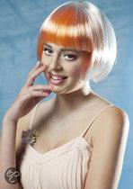 Pruik Fabienne wit/oranje