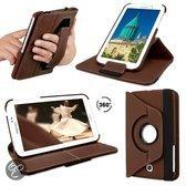 Lederen Samsung Galaxy Tab 3 7.0 Tablet Hoes cover 360 graden draaibaar met Multi-stand kleur Bruin / Brown