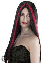 Halloween Pruik Heks - zwart/rode streep