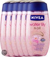 NIVEA Waterlily & Oil - 250 ml - Douchegel - 6 st - Voordeelverpakking