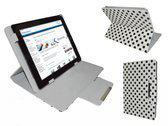 Polkadot Hoes  voor de Polaroid Midc407, Diamond Class Cover met Multi-stand, Wit, merk i12Cover