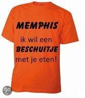 Benza T-Shirt - EK/WK Voetbal Oranje - Beschuitje eten met Memphis Depay - Ronde hals - Maat S