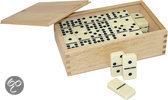 Domino Dubbel 9 - in luxe rubberhout kist (met spinner)