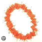 Oranje hawaii krans met tinsels