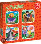 Jumbo 4 in 1 Puzzel: Spelende Meisjes - 16 stukjes