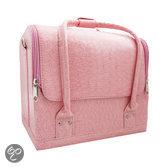 Veronica NAIL-PRODUCTS Make-upetui / -doos Visagie, make-up, nagel koffer, croco zacht roze