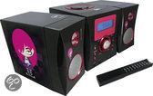 Stereo Set Zwart Roze met USB en MP3 Ingang