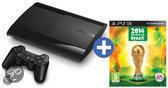 Sony PlayStation 3 Console 500GB Super Slim + 1 Wireless Dualshock 3 Controller + FIFA 14: World Cup Brazil 2014 - Zwart PS3 Bundel