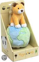 WWF Tyga & Pong Tyga op globe met muziek - 17 cm