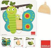 Goula Houten Puzzel - Educatieve Puzzel - Vlinder - 3 Niveaus