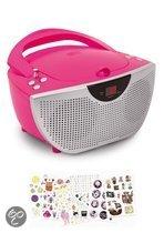 Draagbare radio en CD speler met 300 stickers - Roze