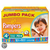 Pampers Simply Dry - Luiers Maat 4+ - Jumbo box 70st