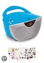Draagbare radio en CD speler met 300 stickers - Blauw