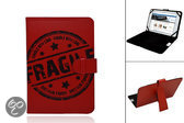 Surfone Internet Tablet 7 Inch Fragile Print Case, Trendy Hoesje, Kleur Rood, merk i12Cover