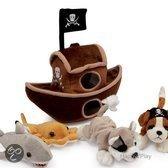 Pluche piratenschip met piraten knuffels