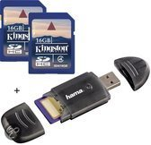 Benza - Kingston Security Digital (SD) Card/Kaart SDHC 2x16GB Class 4 Twin Pack (Inc. USB SD/SDHC Kaartlezer) Geheugenkaarten