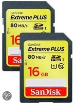 Sandisk Extreme PLUS SD kaart 16 GB (Dubbelpak)