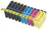 Compatible Epson T1816 / Epson 18XL / Epson 18 met chip, 11 pak. 5 Zwart, 2 Cyaan, 2 Magenta, 2 Geel.