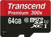 Transcend Premium UHS-I Micro SD kaart 64 GB + SD adapter
